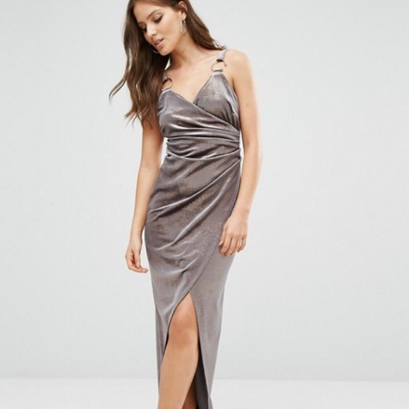 River Island Dresses Crushed Metallic Velvet Wrap Dress Poshmark